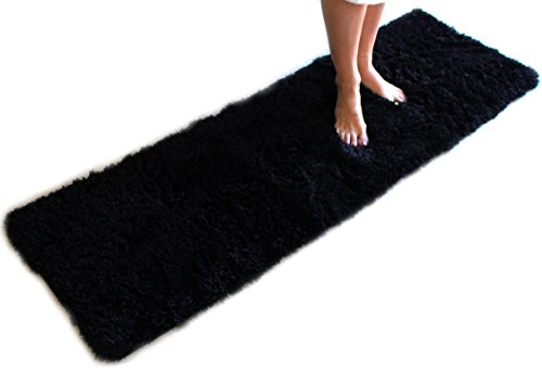 Black Bath Mat Runner Rug Shag Non Slip Ultra Plush Microfiber Highly Water Absorbent Durable and Washable for Bathroom (20 Inch X 59 Inch)