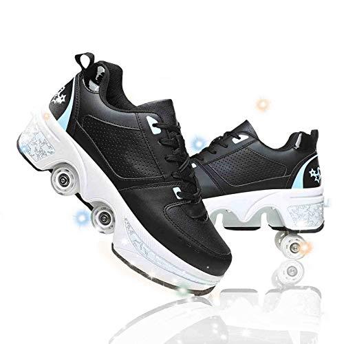 JYHGX Deformación Patines Skate 2 En 1 Polea Zapatos Multifunción Ajustables Cuatro Ruedas Patines Recreación Al Aire Libre Zapatos Cómodo Transpirable