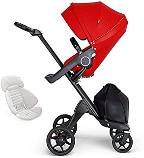 Stokke Xplory V6 Black Chassis Stroller with Black Leatherette Handle, Red with Seat Inlay, Grey