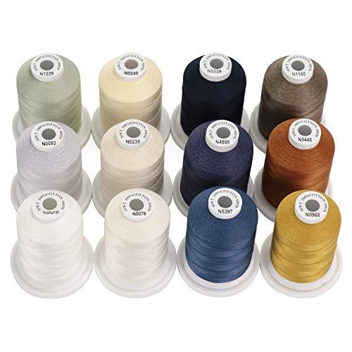 New brothread 12 Colori Neutri&Jean Multiuso Filo di Cotone Mercerizzato al 100% 30WT (50S/3) 600M per Quilting, Cucito e Ricamo