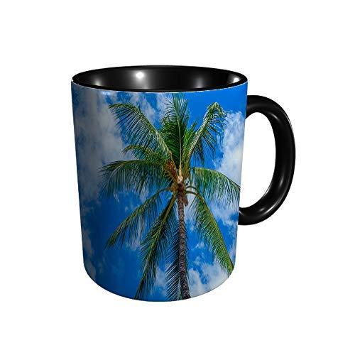 Hdadwy Blick nach oben auf eine hawaiianische Palme Q Keramikbecher Kaffee Tee Geschenk Geschenk Weihnachten Weihnachten 11oz
