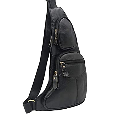 Leather Sling Bag Crossbody Backpack for Men Women Travel Outdoor Sports Hiking Camping Shoulder Chest Day Pack Daypack