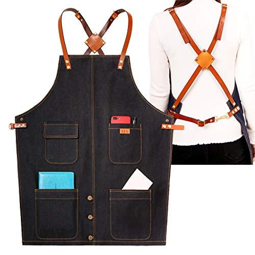 2 stuks professionele keukenschort - gepersonaliseerde geschenken met uw logo en naam - verstelbare schort met zakken Zwart