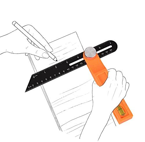 Regla de Múltiples Ángulos Regla de Ángulo Corredizo con Función de Bloqueo Herramienta de Medición 20cm T Bevel Carpinteros Portátiles Cuadrado