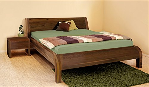 4betterdays bed van notenhout, massief houten bed in kernbeuken, dennenhout, eiken, kers, notenhout (geolied, 200 x 200)