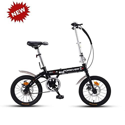 CHAIJY Bicicleta Plegable para Estudiantes Bicicleta de montaña Bicicleta de amortiguación Bicicleta Singlespeed Frenos de Disco Doble Viajeros urbanos Ligeros para Estudiantes y Adultos,Black