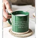 kerryshop Becher Kaffeetasse mit Griff ist praktisch for unterwegs 350ml Grün Grau Ceramic Cup...