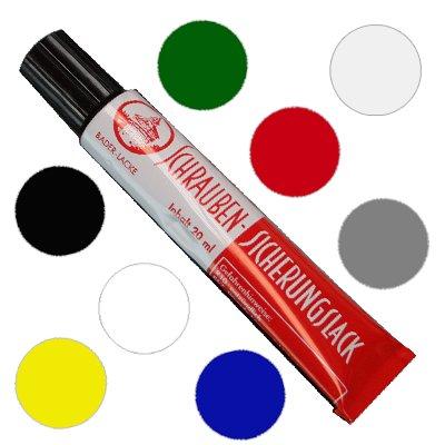 8 x Schraubensicherungslack 20 ml. in Tube transparent - Sicherungslack - Schraubenkleber (je 1 x weiss, grün, rot, grau, blau, schwarz, gelb, transparent)