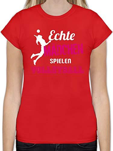 Volleyball - Echte Mädchen Spielen Volleyball - S - Rot - L191 - Tailliertes Tshirt für Damen und Frauen T-Shirt