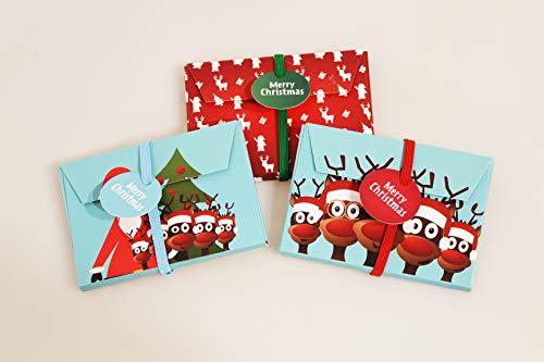 KAMACA 3er Set Geschenkschachtel für Geldgeschenke Gutschein Verpackung Geschenkverpackung Geld Gutschein Weihnachten (3er Set Geschenkumschlag Santa & Friends)