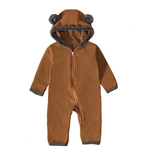 Mono para bebé, niña, niño, con capucha, diseño de dibujos animados, marrón, 12-18 Meses