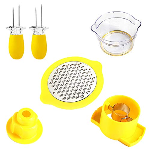 4 in1 Corn Stripper Cutter, Tool Corn Cutter & Remover with Built-In Measuring Cup Grater, Corn Kernel Remover Ginger Grater + 2pcs Corn Cob Fork Holder Skewers - Easy to Operate and Clean