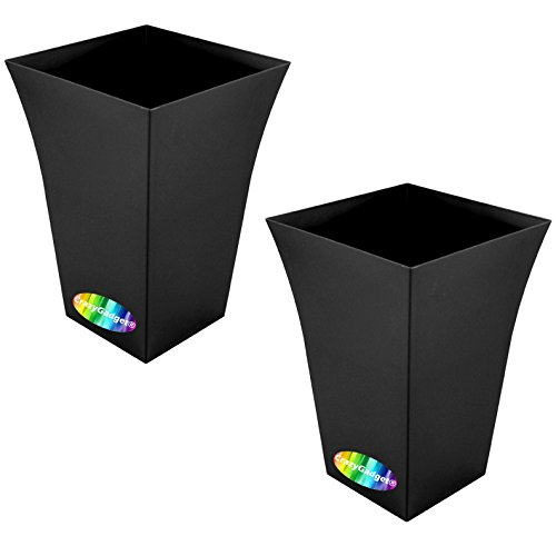 CrazyGadget Large Milano Tall Planter Square Plastic Garden Flower Plant Pot Gloss Finish - for Indoor and Ourdoor (Black, 2)
