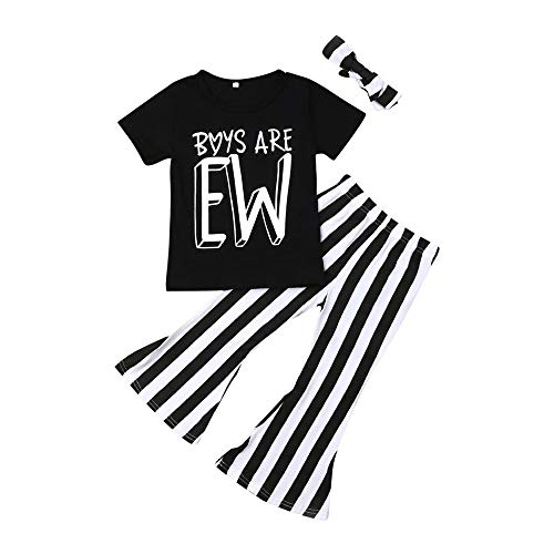Fashion Toddler Baby Girls Boys are EW T-Shirt+Striped Flare Bell-Bottoms Pants Outfit Spring Clothes (Black,1-2T)