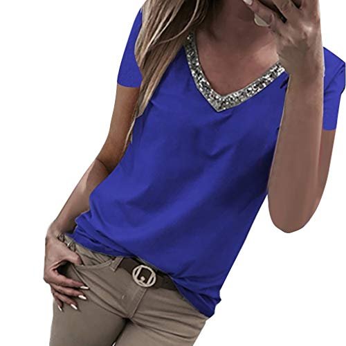 Aniywn Women V Neck Sequin T-Shirt Short Sleeve Plus Size Loose Tops Sparkle Bling Blouse Tunic (M, Blue)