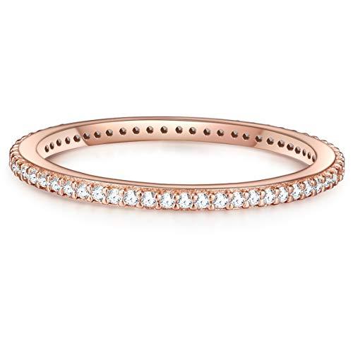 Glanzstücke München Damen-Ring Sterling Silber rosévergoldet Zirkonia weiß - Vorsteckring Beisteckring Roségold Zirkoniaring Handschmuck