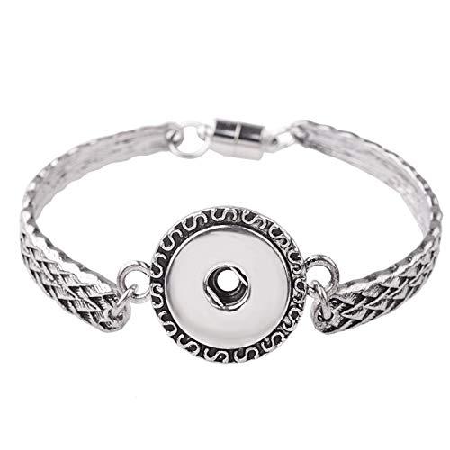 RQWY Armband Magnetverschluss Metall Hand Snap Armbänder Stulpearmbänder Sanps Schmuck Taste Charms Vintage Skulptur Frauen Armband Mädchen
