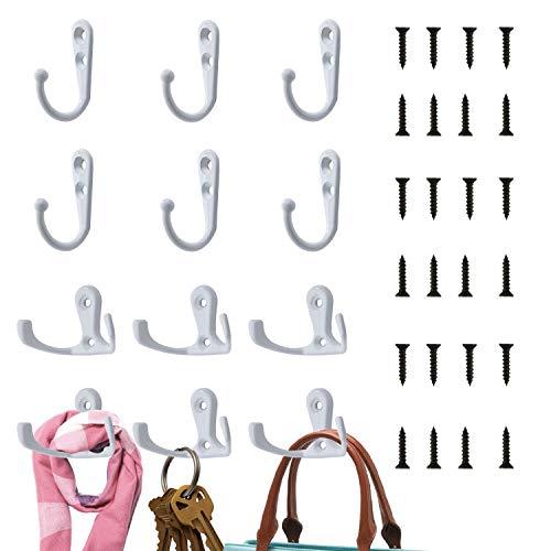 LATTCURE Vintage Kleiderhaken, 12 Stück Single Kleiderbügel Wandhaken Haken Wand Metall Mantelhaken Handtuchhaken Kleiderhaken Kleiderbügel zum Schrauben(Weiß)