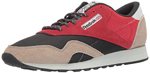 Reebok Men's Classic Nylon Sneaker, Primal red/True Grey/Sand Beige/Blue, 9 M US