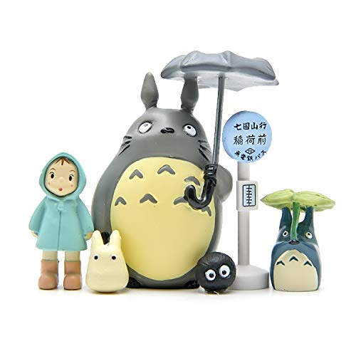 Kimkoala 6Pcs My Neighbor Totoro Figures Toys Set, Japanese Anime Miyazaki Spirit Away Figurines Statue Models Dolls for DIY Miniature Garden Micro Landscape Decorations Birthday Cake Toppers