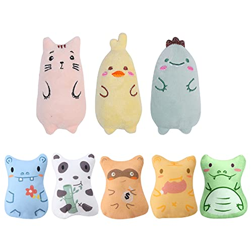 8 Piezas Juguetes Hierba Gatera Juguete Catnip para Gatos de Peluche Gato Juguetes Interactivos Almohada para Gatos Suministros para Gatos Que juegan a moler, Masticar, Limpiar los Dientes