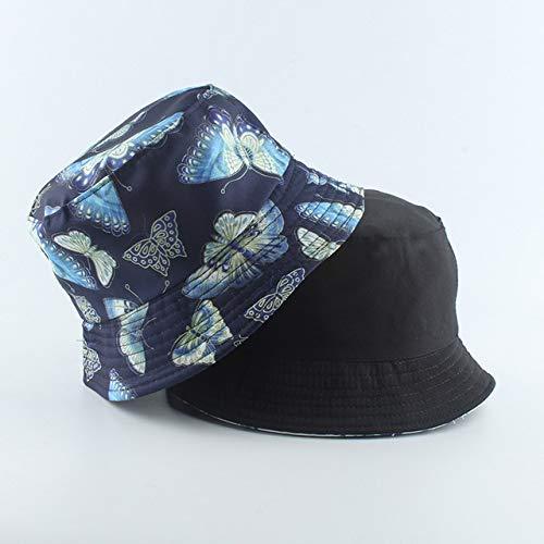 Reversible Negro Blanco Sombrero de Cubo de Vaca Gorras de Sol de Verano para Mujeres Hombres Sombrero de Pescador-Butterfly N