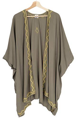 GURU SHOP Kurzer Bestickter Sommer Kimono, Kaftan, Strandkleid, Damen, Khaki, Synthetisch, Size:44, Blusen & Tunikas Alternative Bekleidung