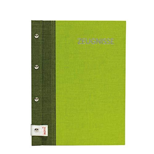 ROTH Zeugnismappe Bicolor mit Buchschrauben - Olive-Green - mit 12 A4 Klarsichthüllen, erweiterbar