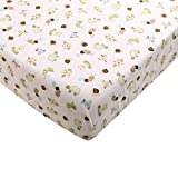 Baby Crib Bedding Sheets, Cotton Crib Sheet, Cute Cartoon Print Fitted Crib Sheet of All Kinds (White bee Turtle)