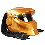 Wwtoukui Casco de Moto Cool Predator,Guerrero En Forma Casco Integral con Luces Decorativas,Casco Certificado Dot ECE, Cuatro Estaciones Unisex,M