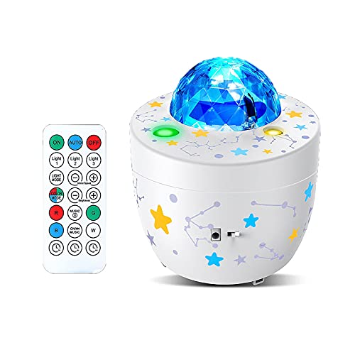 YHZ Starry Night Light Remote Control Projector, Built-in 5 Kinds of Songs, with Bluetooth Speakers and 4 LEDs in 10 Colors, Most Suitable for Children's Baby Bedroom and Party Decoration