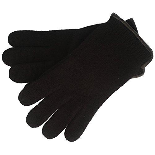 Handschuh   Strick-Handschuhe   Winterhandschuhe aus 100% Wolle – für Damen & Herren – mit Lederrand – Schwarz - 7,5