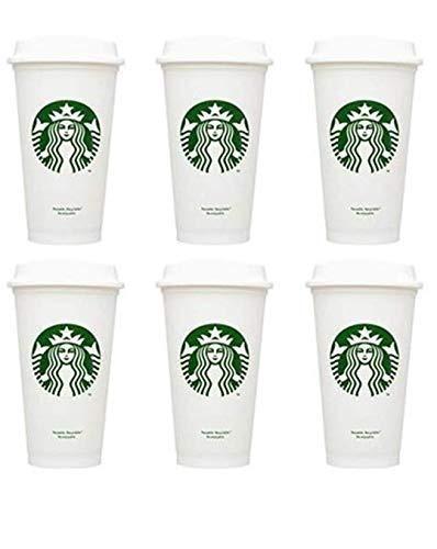 Starbucks Vasos reutilizables reciclables grandes de 16 onzas de plástico de viaje para ir tazas de café (6 unidades)