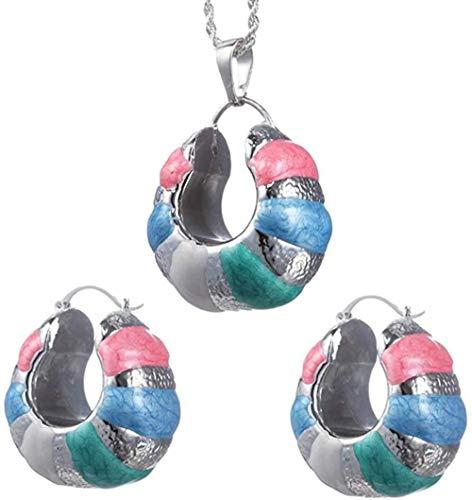 CAISHENY Joyas Románticas Conjuntos de Joyas geométricas para Mujer Collar Pendientes Colgante Multicolor para Fiesta Boda Longitud 45Cm