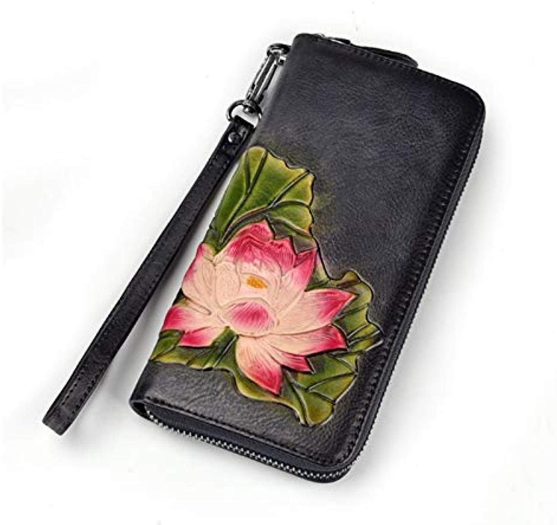 Women's Tree High Leather Wallet HandBrushed Fashion Clutch Bag Top Layer Leather Retro Zipper Bag Handbag (color   Black)