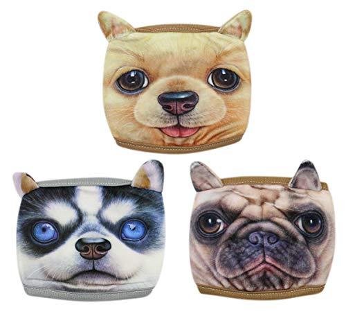 3 Pack Cute Dog Cartoon Pattern Bandanas Cover