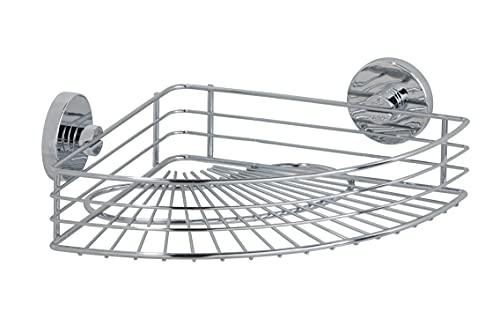 WENKO Vacuum-Loc Eckablage Bari, Wandregal ohne bohren, Duschablage mit Vakuum-Befestigung, Regal für Badezimmer und Küche, verchromtes Metall, 35 x 9 x 22,5 cm