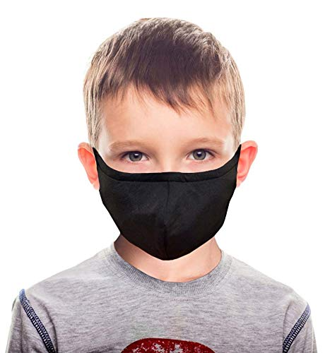 Reusable Kids Face Cloth Mask - 3 Layers Breathable Fabric Mask with Built-in Polypropylene Non-woven Filter - 2 Pack | Back to School Supplies | Made In Taiwan (Black)