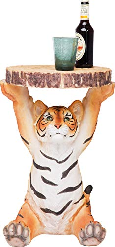 Kare Design side table Animal Tiger, Ø35cm, small, round coffee table wood look, animal figure as unusual living room table (H / W / D) 53x37x35cm