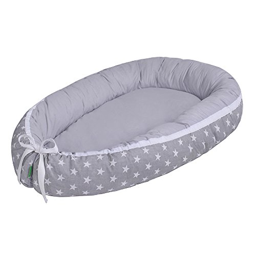 LULANDO Baby- Nest - Sleep Nest - Multifunctional Reversible Baby Cocoon, Farbe:White Stars/Grey