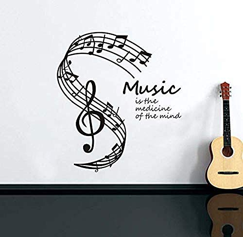 La música es la medicina de la mente Pegatinas de pared 58X66Cm, Notas musicales Stave Music Note Vinilos decorativos para la pared Decoración de vidrio en la ventana