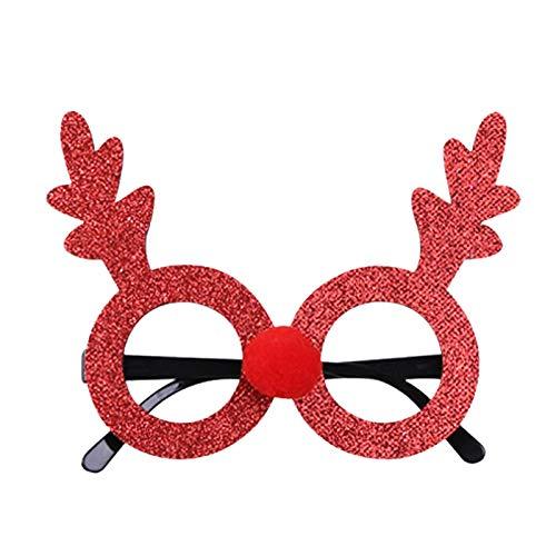 HWTOP Weihnachtsbrille Rahmen Cartoon Stereo Weihnachten Glasrahmen Brillengestelle Erwachsene und Kinder Dekoration Urlaub Verkleiden, Rotes Geweih mit rundem Rahmen