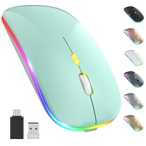【Upgrade】 LED Wireless Mouse, Rechargeable Slim Silent Mouse 2.4G Portable Mobile Optical Office Mouse with USB & Type-c Receiver, 3 Adjustable DPI for Notebook, PC, Laptop, Computer (Mint Green)