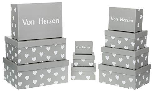 Brandsseller Geschenkboxen Aufbewahrungsboxen Schachteln mit Deckel - Stabiler Karton mit Herzen - Deckel Schriftzug Von Herzen - 10er Set - Farbe: Grau/Weiß