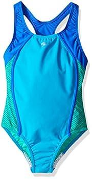 Speedo Girl s Swimsuit One Piece Mesh Splice Thick Strap Cyan 8
