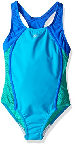 Speedo Girl's Swimsuit One Piece Mesh Splice Thick Strap, Cyan, 8