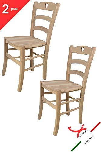 Tommychairs - 2er Set Stühle Cuore für Küche und Esszimmer, Struktur aus poliertem Buchenholz, unbehandelt und 100% natürlich und Einer Sitzfläche aus poliertem Holz