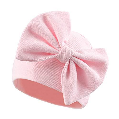 Pesaat Baby Mädchen Mütze Mit Schleife Neugeborene Mütze Baumwlle100% Erstlingsmützen für 0-3Monate Kleinkind mütze übergang frühling(Rosa, S)