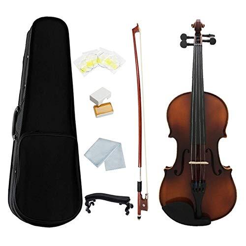 LOIKHGV 3/4 Full Size Violine Retro Akustische Geige Massivholz Fichte Ahorn Furnier mit Schleife Fall Kolophonium Stoffschnüre Shouder Rest, DREI Viertel