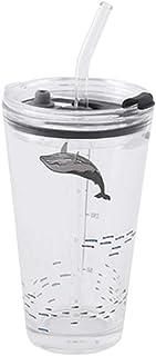 [ユリカー] ガラス ボトル 透明 ストローカップ 水筒 450ML 大容量 漏れ防止 直飲み 男女兼用 子ども おしゃれ 可愛い 携帯 アウトドア (鯨)